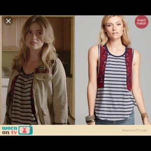 Free People Sleeveless Striped Blouse Embroidered